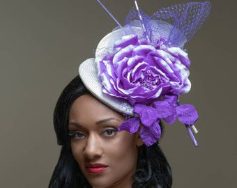 Off to the races Purple and White Kentucky Derby Hat