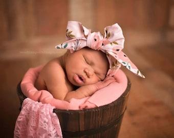 PINK POPPY Gorgeous Wrap- headwrap; fabric head wrap; floral head wrap; boho; newborn headband; baby headband; toddler headband