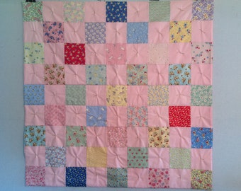 Baby/Infant/Toddler/Child/Kid Quilt, 1930's Prints with Pastels