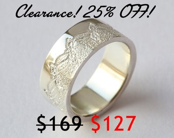 CLEARANCE 25% OFF! Wide Silver Ring with Lace Texture, Anniversary Ring, Wedding Band, Silver Lace Ring,  Silver Textured Ring, Size 5.5