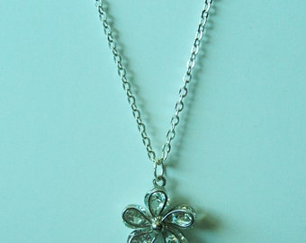 Flower Pendant on Silver Chain