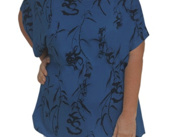Dolman Sleeve Tunic Top for Plus Size, Cotton Dolman Top, Plus Size Womens Tops, Clothing, Short Sleeve Plus Size Tunic Top, One Size XL 1X