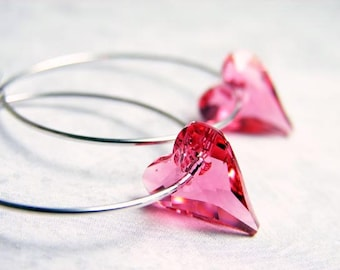 Pink Heart Hoop Earrings. Swarovski Indian Pink Heart Crystal on Silver Plated Hoop. Valentines Day Gift. Heart Earrings