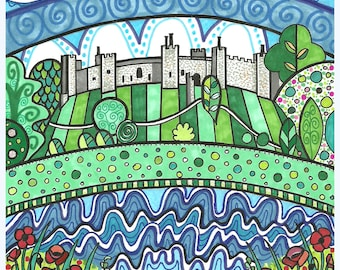 "Framlingham Castle 6x6"" greetings card"