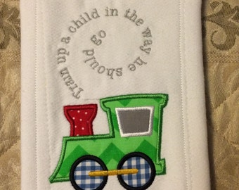 Train up a child Baby Burp Cloth Train Applique Religious Bible Verse gift idea