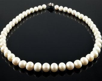 Standard Grade Single Strand White Pearl Necklace, Genuine 9-10mm Freshwater Cultured Pearls, Hand Strung to Order