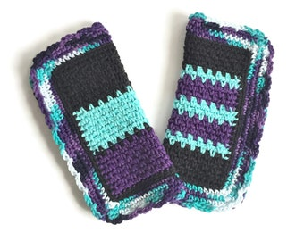 Crochet Dishcloth, Set of Two Purple and Turquoise Dish Cloths, Cotton Washcloth, Handmade Wash Cloth