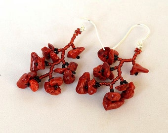 Red coral twiggy earrings Red botanical earrings Beadwork jewelry with real coral Red and black earrings Made in Israel art E1015