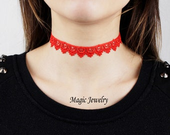 Red lace choker Gift for mother Boho choker necklace Festival jewelry Fire red fashion choker Trend jewelry Gothic necklace Tattoo choker