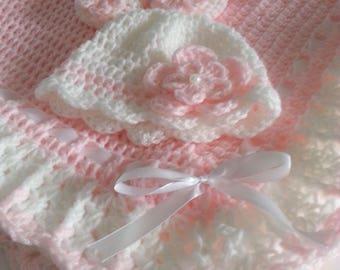 Crochet Baby Set Blanket / Afghan,Hat & Booties Pink White Christening Baptism Granny  Handmade Crochet Baby Shower Gift