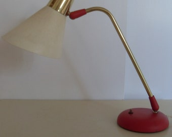 Vintage Mid Century  PRESCOLITE Table Lamp in Red and Brass