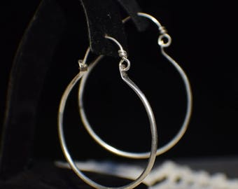 Timeless sterling silver hoop earrings, hand forged hoops,