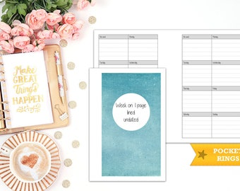 week on 1 page printable planner insert - pocket size - print at home - planner refill - WO1P - weekly agenda - undated - Filofax pocket