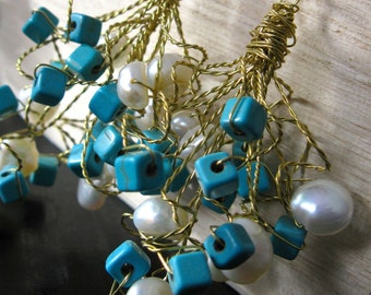 CLEO. Wire Ringlet Dangle Earrings. Turquoise Howlite. Ivory Freshwater Pearls with brass wire Tendrils