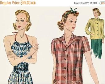 Spring Sale Original Simplicity 30's Beach Pajamas 3081 pajama loungewear halter wide leg  Misses Pajama Ensemble Vintage Sewing Pattern Bus