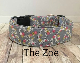 """Grey and Pink Floral Dog Collar """"The Zoe"""""""