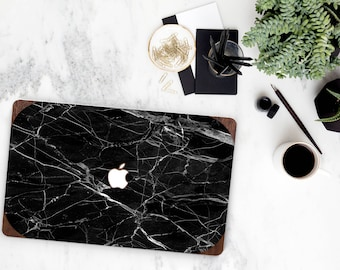 Macbook Pro 13 Case . Black Marble Primavera Rustic Wood . Macbook Air Case . Laptop Case . Macbook Case - Natural Series- Platinum Edition