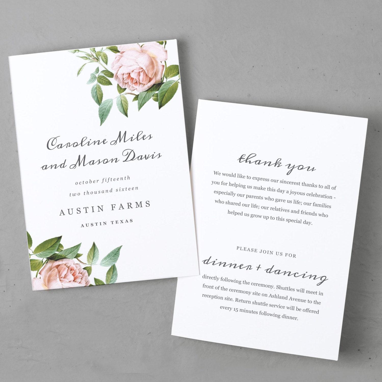 Printable Wedding Program Template | INSTANT DOWNLOAD | Vintage ...
