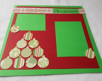Christmas ornament 12 x 12 premade scrapbook page, Red and Green premade Christmas scrapbook page