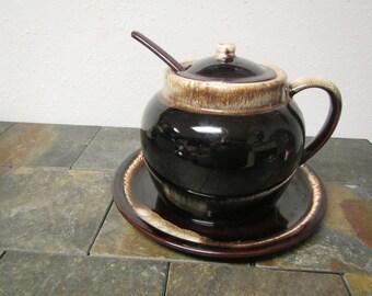 """Large Bean Pot , ladle dipper and 13"""" Platter , Chili pot , soup pot,"""