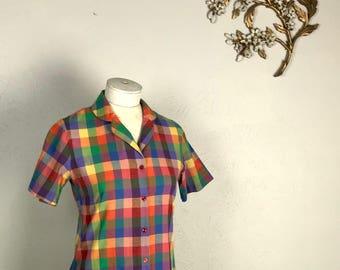 Rainbow Gingham 70s Linen Button Up Shirt/Blouse