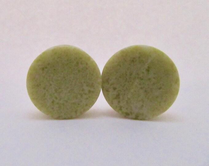 """Lime Jade Stone Plugs / Gauges. 7/8"""" / 22mm"""