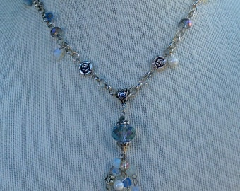 Flower and Charm Necklace with Opalite and Crystal