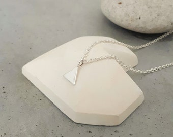 Silver necklace, triangle, triangle, tiny triangle pendant