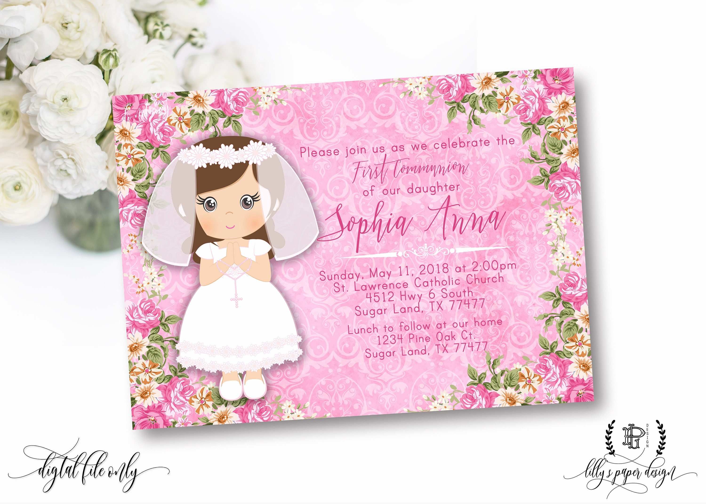 Girl first communion invitation pink floral communion zoom kristyandbryce Choice Image