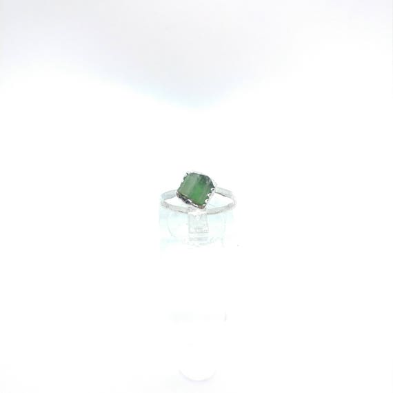 Green Tourmaline Crystal Ring | Sterling Silver Ring Sz 7  | Raw Green Tourmaline Ring | Raw Crystal Ring | Uncut Gemstone Ring