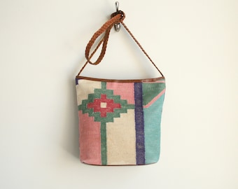 Woven Kilim Bag in Pastel Geometric Navajo Pattern with Braided Leather Strap