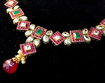Indian Wedding Jewelry Set, Indian Bridal Jewelry, Kundan Jewelry, Ruby Red & Emerald Green, Indian Choker, Bollywood, Polki, Meenakari