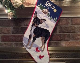 Black Chihuahua Dog Stocking, Christmas stocking, Dog stocking, Chihuahua Personalized Christmas stockings, Chihuahua needlepoint stocking