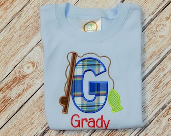 Boy's summer shirt; Shirt with fish; blue shirt; Boy's personalized shirt; Fishing shirt