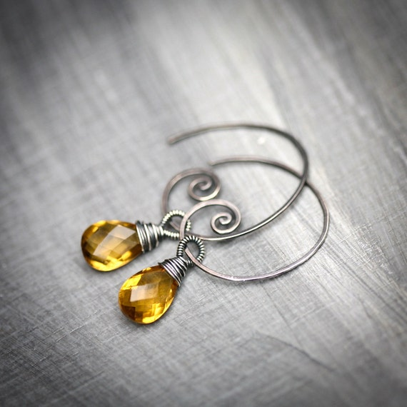 Whiskey Quartz - Wire Wrapped Briolette Blackened Sterling Silver Hoop Earrings