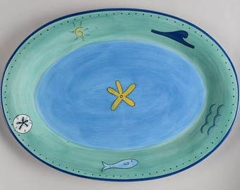 Brushes K.I.C. Hand Painted, Extra Large Serving Platter Blue Green Ocean Seaside Collection Stonemite 18''