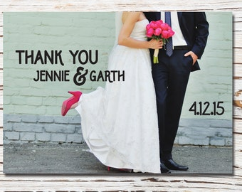 Thank you printable wedding card - with photo - sweet and simple