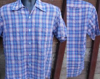 Men's Plaid button down Shirt, 70's Blue Plaid Shirt