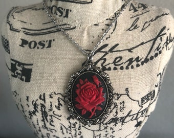 Enchanted rose cameo steampunk silver necklace