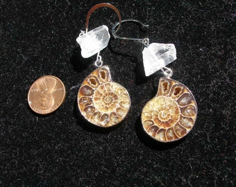 Ammonite fossil earrings, natural crystal points   - etsyBuddhists, paganteam, etsyBead, FunkyAlternativeJewelry, OlympiaEtsy, WWWG