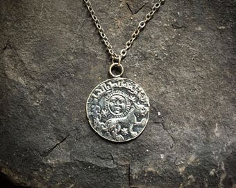 Coin Pendant, Coin Necklace, Old Coin Pendant, Ancient Coin, Old Coin Necklace, Old Coin Jewelry, Wiccan Jewelry, Moon Necklace, Bohemian