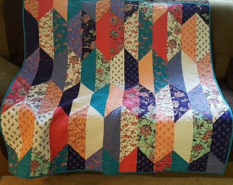Lap Quilt, Colorful Lap Quilt, Quilted Lap Blanket, Scrappy Quilt, Quilted Throw