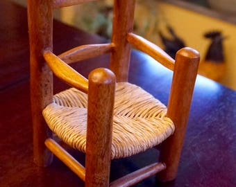 """Miniature; Wood and Rattan; Wicker; Straw; Chair; Approx. 6""""h x 3.5""""w - Nice for a doll !!!"""