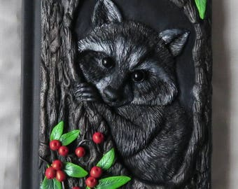 Raccoon, polymer journal, fantasy, berries, tree, forest, 200 blank pages