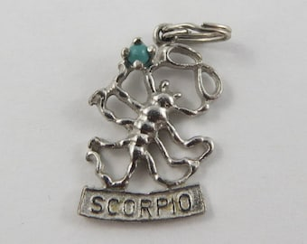 Scorpio Zodiac With Turquoise Stone Sterling Silver Vintage Charm For Bracelet
