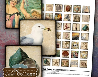 Sand Dreams Digital Collage Sheet 1x1 Inch Squares for Pendants, Magnets, Decoupage, Scrapbooking, Paper Crafts, Inchies, Digital Download