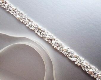 Bridal belt, Swarovski crystal and pearl sash, Beaded rhinestone and pearl crystal waist sash, Thin crystal belt in gold, silver, rose gold