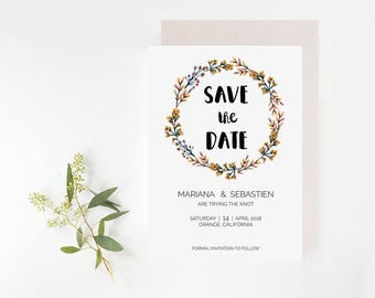 Orange Floral Wedding Save the Date Card Printable Template Download, Editable Save the Date Card Template - Orange Floral Wreath : IDB002D