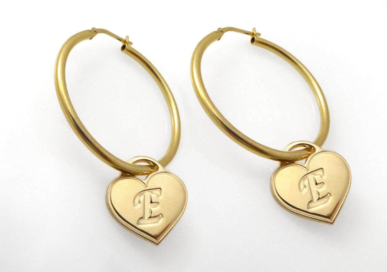 Initial Hoop Earrings. monogram Earrings. Gold Earrings.