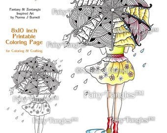 Umbrella Fashion Fairy Tangles Printable Coloring book Sheets & Pages Norma J Burnell - Adult Coloring for Grownups Digital coloring files